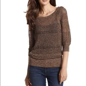 WHBM Copper Knit Crochet Pullover Sweater
